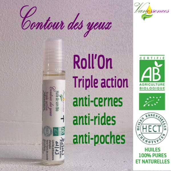 Roll'On Soin Bio Contour des yeux - Triple action aux Huiles essentielles Bio