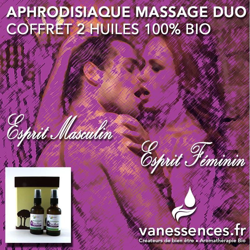 coffret 2 huiles de massage bio aphrodisiaques