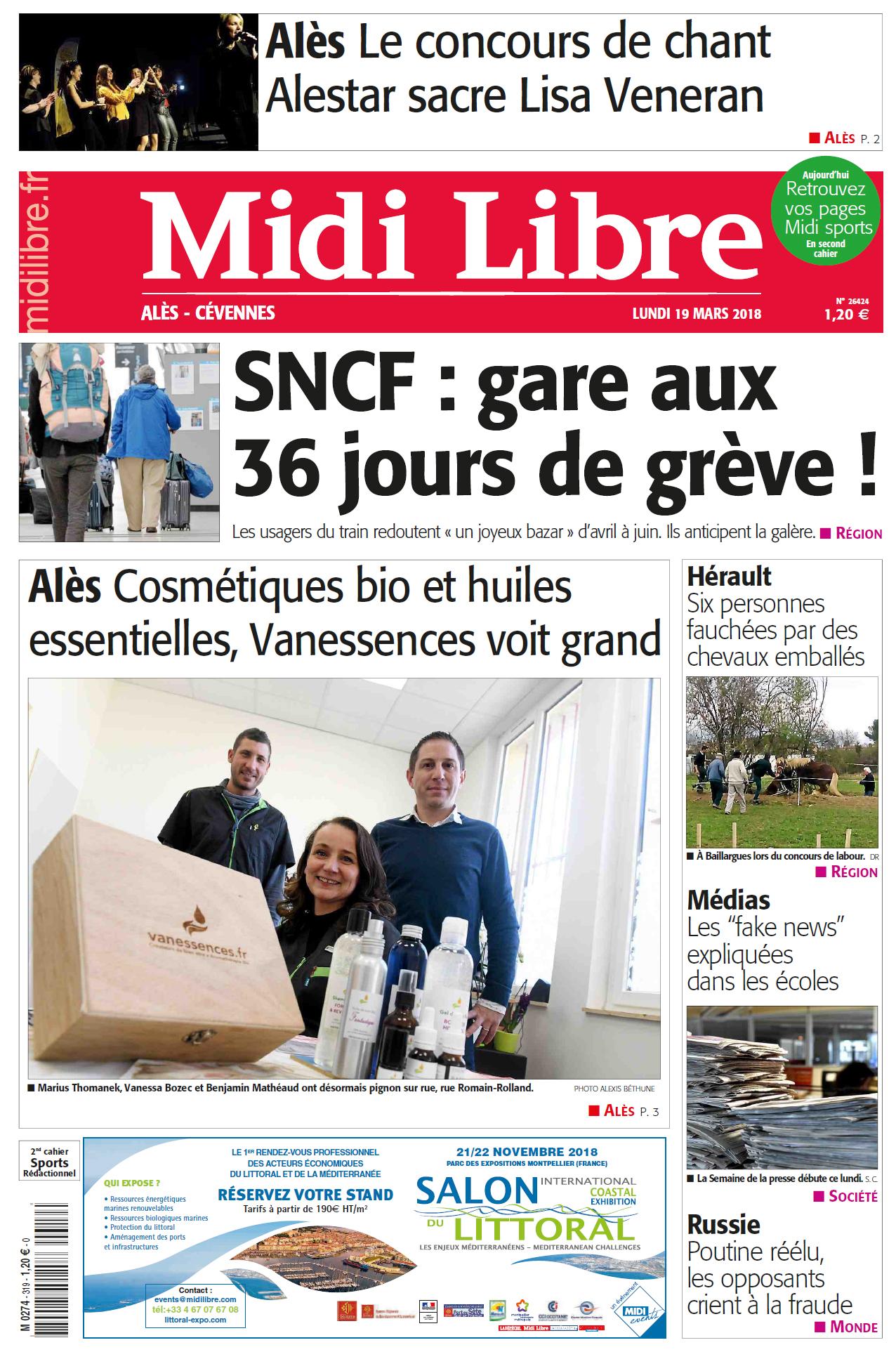 vanessences.fr fait la une du Midi Libre Alès