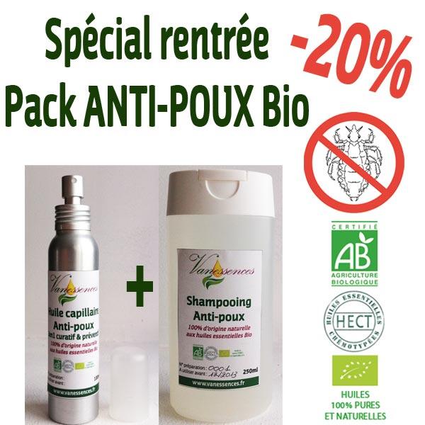 Pack ANTI-POUX Bio Shampooing Bio anti-poux et Huile capillaire anti-poux 2en1